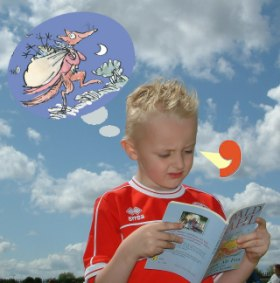 Photo of boy with book and mental picture