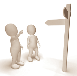 figures at sign post
